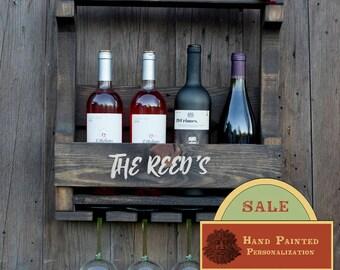 Wine Rack, Personalized Gift, Handmade Wine Rack, Rustic Wine Rack, Pallet Wine Rack, Wedding Gift, Unique Wine Rack -Dark Walnut