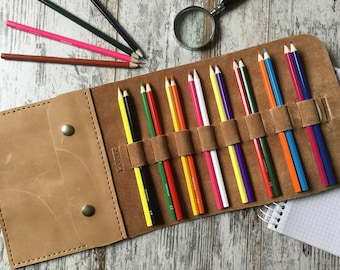Leather Pencil Holder, Tool Case, Travel Case, Pen Pouch, Paint Brush Roll, Hand Stitched, Camel Distressed Leather