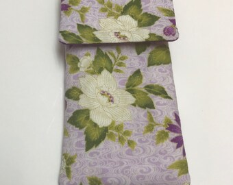 Purple and beige floral sunglass case, eyeglass case, soft eyeglass case, fabric pencil case, storage pouch
