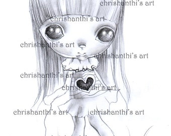 INSTANT DOWNLOAD Digital Digi Stamps..by Chrishanthi's art,Creepy girl,Hearty.