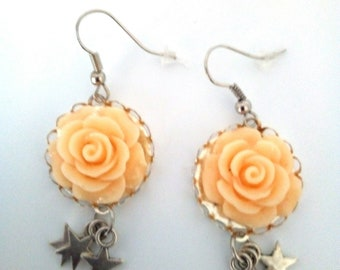 Handcrafted Flower Earrings resin and stars
