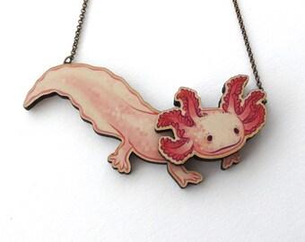 Laser Cut Axolotl Statement Necklace - Newt Salamander Amphibian Pond Fish Axolotl Mermaid Animal Aquarium Pet Jewellery Birch Please