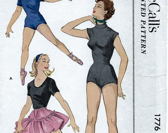 McCall's 1776 Girls 50s Leotards and Skirt Sewing Pattern Size 8, Breast 26