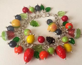 Glass Fruit Bracelet, Carmen Miranda, Lampwork