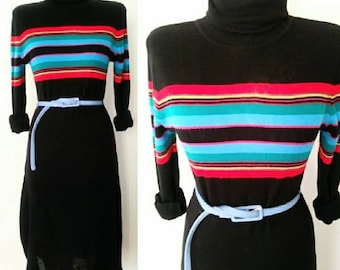 70s Vintage Striped Knit Dress / 1970s Vtg Rainbow Stripe Sweater Dress Sm