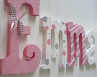 Hanging nursery letters nursery letters baby girl nursery letters pink white grey nursery decor nursery wall letters & Girls wall letters | Etsy