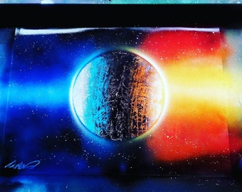 2 colour spray paint planet art space art - painting - galaxy - personalised gift for your friends and family - Christmas gifts - birthday