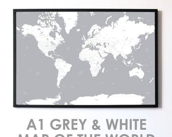 Grey world map etsy white grey a1 minimalist map of the world travel poster high quality print gumiabroncs Image collections