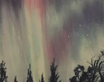 Painting of Aurora borealis, northern lights over Scotland, scotlands skies, pastel art
