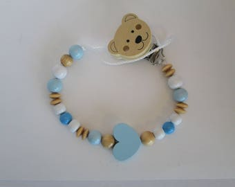 Personalized pacifier - natural wood and blue heart bear theme