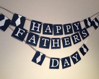 Happy Father's Day Banner Navy and Silver