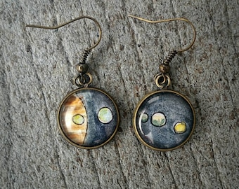 Jupiter earrings. Jupiter and 5 of its moons Hand-painted in watercolor. Miniature paintings, Wearable art earrings, Planets and space
