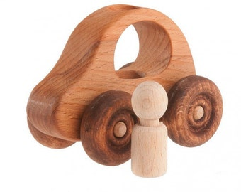 Organic Wooden Toy Car Wooden Toy for Babies Toddlers and Preschoolers  Montessori Inspired ToysWooden Toys Wooden toy car with a passenger