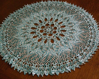 hand crocheted two-tone round doily