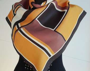 Mad Men Style Vintage Retro Silk Scarf / Crepe Royal / brown yellow / Vintage 70's Mod Op-Art Abstract-Squares