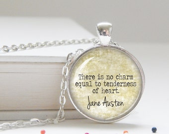 Jane Austen literary quote pendant necklace, word gifts, word jewelry, word charms, literary necklace, literary gifts, book necklace