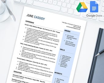Simple and Bold Editable Resume Template for Google Docs | Google Drive