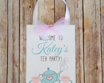 printable tea party sign, custom digital tea party sign, personalized welcome tea party birthday sign