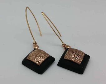 Earrings etched Bronze and ebony, tribal inspired, square shape diamond