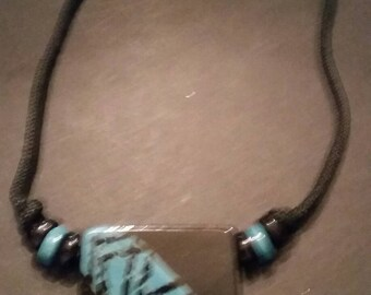 Black and Blue Glazed Pendant Necklace Costume Jewelry