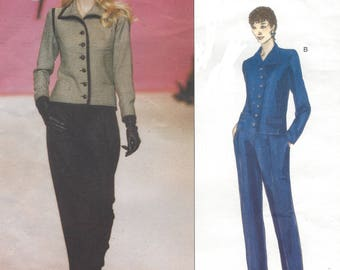 90s Yves Saint Laurent Womens Above Hip Jacket and Straight Leg Pants Vogue Sewing Pattern 2077 Size 8 10 Bust 31 1/2 to 32 1/2 Vogue Paris