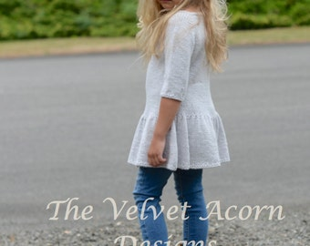 KNITTING PATTERN-The Calligraphy Pullover 2/3, 4/5, 6/7, 8/9, 10/11, 12/14, Small, Medium and Large sizes