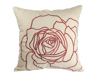 Rose pillow Cover, Throw Pillow Cover, Decorative Pillow, Red floral Pillow, Embroidery Pillow,Toss Pillow, Couch Pillow, Flower Pillow