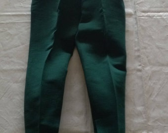 "Vintage Skiwear, 1960s High Waist Ski Pants Made in Austria, Green Wool Stirrup Pants 26"" Waist, Sears Roebuck & Co"