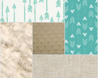 Arrow Baby Crib Bedding - Icy Mint Arrow, Seafoam Weathervanes, Ivory, and Taupe Crib Bedding Ensemble