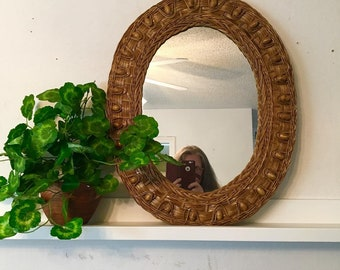 vintage wicker and wood beads framed wall mirror