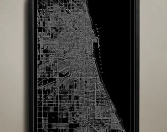 Canvas Print - Chicago Map - Chicago Poster - Chicago Canvas Print - Windy City Map - Chicago Map Canvas Print - Map of Chicago