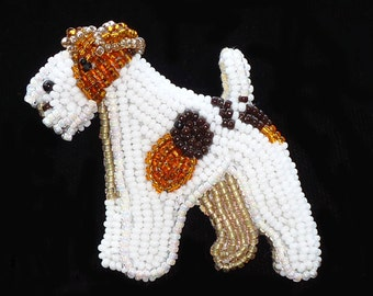 Beaded WIRE FOX TERRIER dog pin pendant art jewelry necklace (Made to Order)