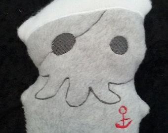 CT the Squid Cthulu Stuffed Plushie with Nautical Anchor And Sailor Hat