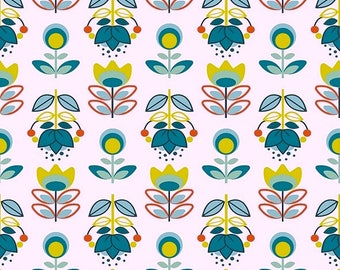 Fabric white teal Holly fabric Scandinavian, fabric flowers, 1/2 meter