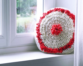 Wool Cushion / Knitted Cushion / Off White Cushion / Chalk / Handmade Diameter 40cm / Sold with Padding / Girl Cushion / Gift / Decoration