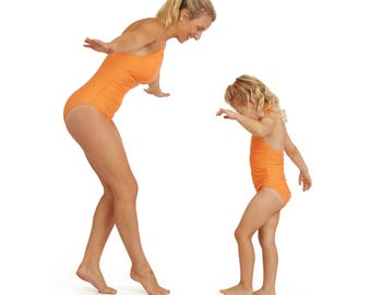 Matching Mother & daughter Swimwear. Made with premium UPF50+ Italian Eco-friendly Fabric - Annabelle in Orange