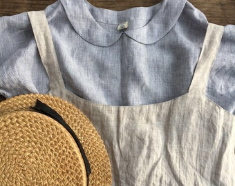 Linen blouse with Peter Pan collar, Cute Linen Shirt Women, Linen T Shirt, Linen Tee, Plus size shirt, Linen Blouse, Cute Top, striped top