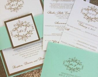 Wedding Invitations - Gold Wedding Invitation - Mint and Gold Wedding Invitations - Free RSVP Envelope Printing