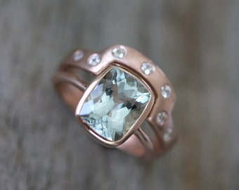 Aquamarine Rose Gold Engagement Ring Wedding Set, 14k Rose Gold Cushion Cut Aquamarine and White Sapphire Wedding Band, Eco Friendly