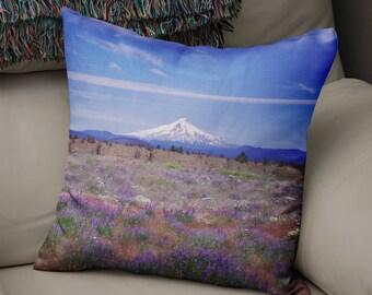 Mt Hood Mountain Pillow, Nature Throw Pillow, Oregon Decor, Cascade Mountains, Nature Pillow, Skier Gift, Portland Home Decor, MtHood Oregon