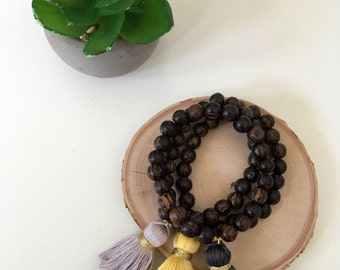 Natural Darkwood Beaded Tassel Bracelet