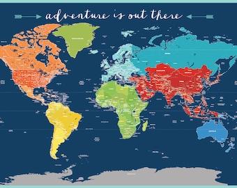 World map decal for kids, Worldmap Mural Decal, Very big wall decal, Nursery Wall decal, Baby room worldmap, map for kids