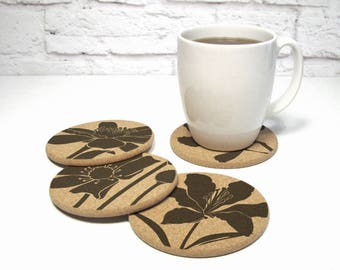 LILY FLOWER Floral Design Round Cork Coasters Hostess Gift Home Decor