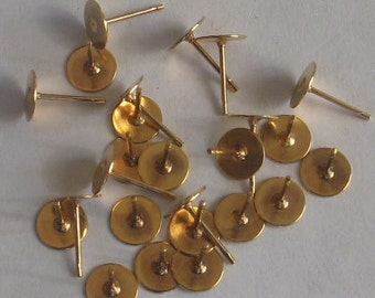 10 gold tone 6mm pad with posts  and nuts gold tone