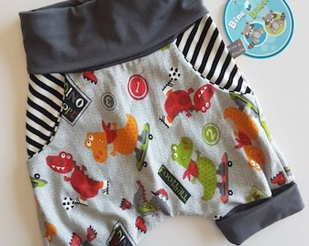 Scalable, evolutionary, unisex baby shorts shorts, boy, dino, dinosaur, hipster, cotton, Bine and hoe