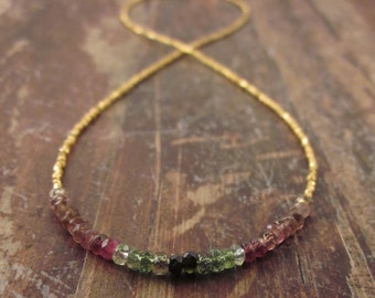 Watermelon Tourmaline Necklace October Birthstone Necklace Gold Vermeil Beaded Necklaces Birthstone Jewelry Woman's Necklace Gifts for Her