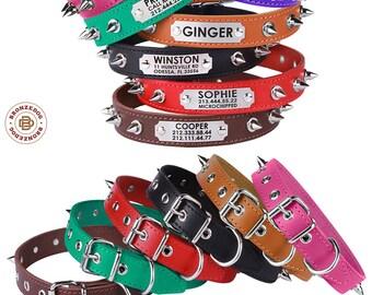 Spiked Dog Collar, Dog Collar Personalized, Leather Dog Collar, Laser Engraved ID Tag, AmStaff Bulldog Pitbull Collar, Large Dog Collar