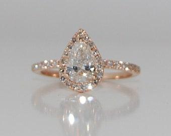 Rose Gold Engagement Ring. Pear Engagement Ring. Rose gold Pear Diamond Ring Pear Cut Diamond Ring. 0.9ct White D/VS2 Diamond Ring.