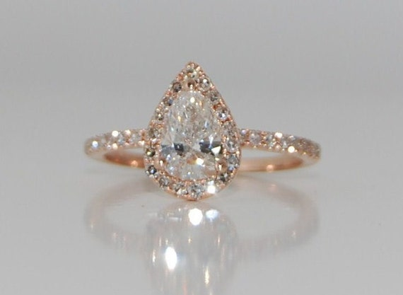 Rose Gold Engagement Ring Pear Engagement Ring Rose Gold