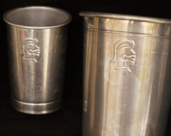 Vintage Set of 2 Aluminum Cups/Tumblers with Matching Shot Cup  Knight Emblem on Each.